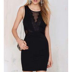 Lace Detail Black Dress