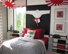 Bedroom, Awesome Japanese Karate Bedroom Theme With Karate Costume On Wall, Karate Kid Picture As Accessories Furnished With Red Bed Sheet: Cool Themes For Rooms To Evoke Certain Awesome Nuance