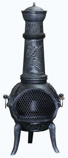 Large size cast iron chimenea with a decorative grape design adorning the body and funnel.The perfect patio heater for families, extend your time outdoors with this garden heater.Cast iron is the ideal material for chimeneas is the metal heats up quickly and retains the heat for a long period afterwards.
