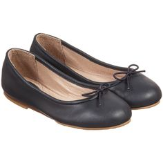 Bloch Girls Navy Blue Leather 'Arabella' Ballerina Pumps at Childrensalon.com