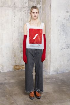 I had to pin this simply bc this is really a look with a plastic bag as a shirt! Anddd did you notice the message on the pants?  MM6 Maison Margiela - Fall 2015 Ready-to-Wear - Look 16 of 24