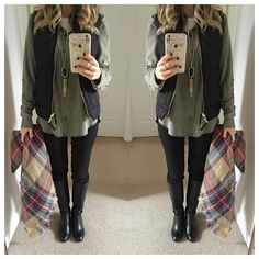 """""""Hurray for good hair days! So I don't wear camo- but I can wear the colors just fine. This scar REALLY does go with everything. #outfit details through…"""""""