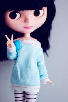 Blue Pompom Blythe size Sweater by sugardollshop on Etsy, $12.00
