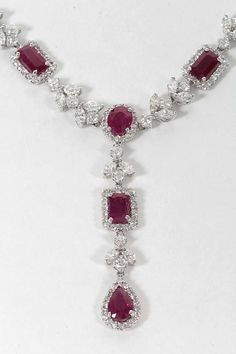 Exquisite Multi-shape Burma Ruby and Diamond Necklace | From a unique collection of vintage drop necklaces at https://www.1stdibs.com/jewelry/necklaces/drop-necklaces/
