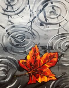 Paint Nite painting Rainy Autumn Leaf by artist Michelle Smith form Palm Desert, CA, USA. Fall Canvas Painting, Autumn Painting, Canvas Paintings, Rock Painting, Paint And Sip, Painted Leaves, Painting Inspiration, Autumn Leaves, Watercolor Art