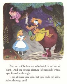 By far the most fascinating thing about the White Rabbit Little Golden Book, is the inclusion of the Jabberwock. The Jabberwock is a character that was originally scheduled to appear in the film, and seemingly removed fairly late in the game. There is this page, and there was to be a Little Golden Record as well. Stan Freberg was originally slated to provide the voice of the Jabberwock.