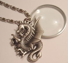Magnifying Glass 2 Sided Silver Dragon Swivel Charm/Pendant Necklace | Jenstardesigns - Jewelry on ArtFire