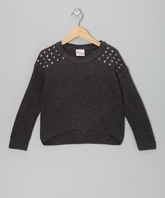 Take a look at this Dark Gray Studded Sweater - Girls on zulily today!
