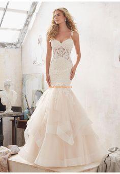 Meerjungfrau Herz-ausschnitt Luxuriöse Brautkleider aus Organza mit Applikation