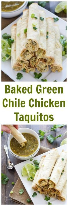 Baked Green Chile Chicken Taquitos | I love these lighter baked taquitos! They have the creamiest chicken filling! | http://www.reciperunner.com
