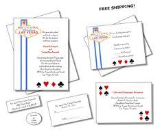 100 Las Vegas Wedding Invitations w/ Extras by JoAnnsWeddings Wedding Themes, Wedding Favors, Las Vegas Weddings, Wedding Invitation Design, Handmade Gifts, Etsy, Wedding Reception Themes, Wedding Keepsakes, Kid Craft Gifts