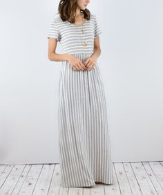 Look at this éloges Gray Stripe Maxi Dress on #zulily today!