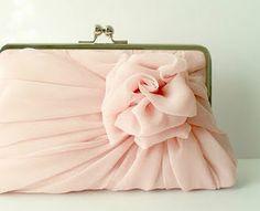 Vintage pink chiffon clutch.