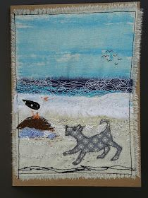 This, that and everything inbetween: A few more little bits of my art Freehand Machine Embroidery, Free Motion Embroidery, Machine Embroidery Applique, Applique Quilts, Embroidery Art, Fabric Postcards, Fabric Cards, Beach Quilt, Ocean Quilt
