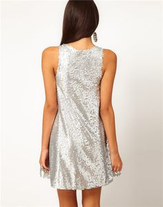 2015 New Plus Size Women Clothing Silver Bling Sleeveless O Neck Mini Silver Casual Dress Women Sweat Party Dresses Beach Style