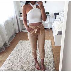 Crop top con pantalon con lazo para el verano!