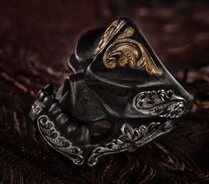 Black Iron Kamikaze Puncher with Takeuchi Engraving Fashion Rings, Fashion Jewelry, Antler Ring, Vintage Engagement Rings, Solitaire Engagement, Ring Bracelet, Wedding Ring Bands, Unique Rings, Jewelery