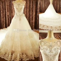 Wholesale 2014 Prom Dresses - Buy Exquisite 2014 Luxury Wedding Gowns Bride Dresses Crystals Cathedral Zipper Wedding Jewel Free Veil Free PETTICOAT 2014 Buy 1 Get 2, $289.81 | DHgate
