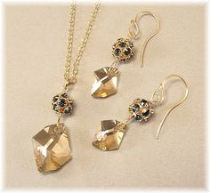 Navy Blue Rhinestones Pendant and Earring Set Montana by Handwired, $47.00
