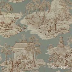 tienda online telas & papel   Papel Toile de jouy Tortuga porcelana