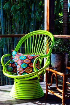 Much of Kirsten's vintage cane furniture is sourced from the side of the road, her husband Gavin who is in the demolition business, or on e-. Bamboo Furniture, Painted Furniture, Home Decor, Beautiful Home Gardens, Green Chair, Upcycle Chair, Neon Home Decor, Cane Furniture, Interior Design Pictures