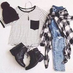 Grunge outfit idea nº5. Ripped jeans, plaid shirt, pin stripe undershirt, beanie, laced light-boots, black crystal necklace
