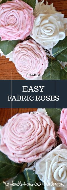 Easy Fabric Roses You'll Make For Your Shabby Chic Decor There is really no hard and fast rule for making these flowers! Click through for step by step directions for making these fabric roses! Fleurs Style Shabby Chic, Flores Shabby Chic, Tela Shabby Chic, Cortinas Shabby Chic, Shabby French Chic, Shabby Chic Stoff, Casas Shabby Chic, Shabby Chic Mode, Estilo Shabby Chic