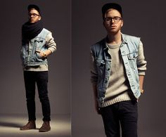 Caps, Eyewish Glasses, Divided Scarf, Shoes, Levi's Denim Vest, Sweater, Weekday Skinny Jeans, Bamboo Watch