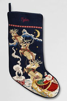 Needlepoint Christmas Stocking from Lands' End....Ephraim will be next up to add to our collection of Land's End stockings.