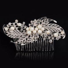MARIA Bridal Hair Comb, Sparkly, Vintage, Clear Rhinestone, Pearl, Clip, Slide | eBay