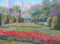 Boston Public Garden oil painting