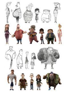 eu curto a ideia do design dos personagens ser bem baseado em formas diferentonas, pra ter uma diferença marcante de silhueta entre eles (e de as mesmas formas serem usadas pra humanos e monstros)