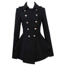 Fashionable Turn-Down Collar Double-Breasted Epaulet Embellished Pleated Top Long Sleeves Slimming Coat For Women, BLACK, XL in Jackets & Co...