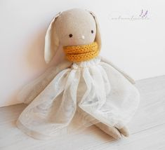 FREE SHIPPING! Sofia - linen bunny doll - Easter gift for girls - girl nursery decor - handmade doll - dress doll -  rag doll - textile toy