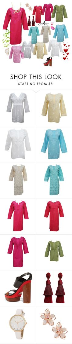 """Hand Embroidered Tunic"" by era-chandok ❤ liked on Polyvore featuring Michael Kors, Oscar de la Renta and NAKAMOL"