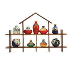 ExclusiveLane 9 Terracotta Warli Handpainted Pots With Sheesham Wooden Hut Frame Wall Hanging - Decoratives by ExclusiveLane for Beeja