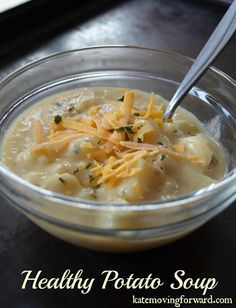 Healthy Potato Soup--still creamy and cheesy, just less fat and calories!