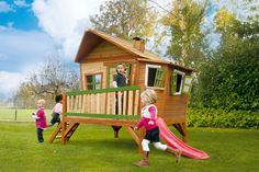 This spacious cottage comes with a slide letting your kids slide down in style. Through one of the windows your kids can watch their friends entering the backyard. Add a matching chalkboard, for children to add their own splash of color.