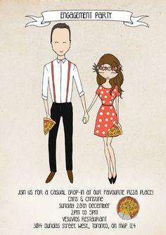 engagement party invitation pizza wedding by Blanka Biernat