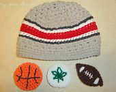 OSU Hat with Football/Buckeye Leaf/Basketball - Made to Order - Ohio State Baby - Newborn, Up to 12 Months