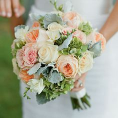Fresh Bridal Bouquets | Muted Color Bouquet | SouthernLiving.com - roses, hydrangeas, and dusty miller