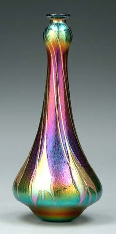 Charles Lotton Art-Glass Vase in Stunning Iridescent Colours ♥≻★≺♥DIVINE!♥≻★≺♥