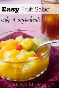 Easy Fruit Salad: Saves Time with only 4 Ingredients! This easy fruit salad uses only 4 ingredients including canned fruit and vanilla pudding for a recipe that will become a family favorite! Fruit Salad With Pudding, Fruit Salad Recipes, Fruit Salads, Fruit Fruit, Recipes With Canned Fruit, Jello Salads, Fruit Party, Instant Pudding, Fruit Cocktail Salad
