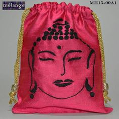 Buddha gift bag Cotton silk with hand embroidery Customization possible To order,contact 9654272599 or melangehandicrafts@gmail.com Visit www.facebook.com/melangehandicrafts to view other products