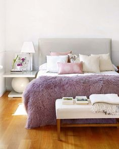 Grey lilac - lilac shag throw, grey headboard, ivory bench, white nightstand