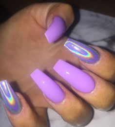 Pastel Violet and Holo Effect on long Coffin Nails ? Coffin Effect Holo long Nails pastel Violet Ongles Gel Violet, Purple Glitter Nails, Purple Acrylic Nails, Violet Nails, Best Acrylic Nails, Summer Acrylic Nails, Purple Chrome Nails, Acrylic Nails Chrome, Black And Purple Nails