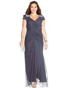 Alex Evenings Plus Size Embellished Ruched Gown - Dresses - Plus Sizes - Macy's