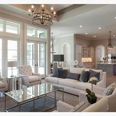 Warm, cozy and elegant transitional living room design and decor.
