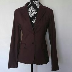 """Theory Blazer Theory long sleeve blazer jacket? Collared with two buttons and two functional flap pockets? Fitted? Fully lined? Eggplant purple color? Size Medium? 97% cotton, 3% lycra? Gently used, EUC? Approximate Measurements Laying Flat:? Shoulder to Shoulder: 16""""? Underarm to underarm: 17.5""""? Waist: 16.5""""? Length: 25"""" Theory Jackets & Coats Blazers"""