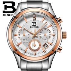 52.63$  Buy now - http://alinkv.shopchina.info/go.php?t=32546426604 - Switzerland BINGER men's watch luxury brand Quartz waterproof genuine full stainless steel Chronograph Wristwatches BG6019-M5  #buychinaproducts